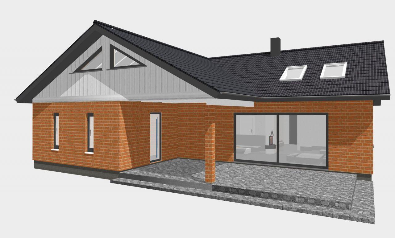 winkelbungalow gross 130qm satteldach haus grundriss. Black Bedroom Furniture Sets. Home Design Ideas