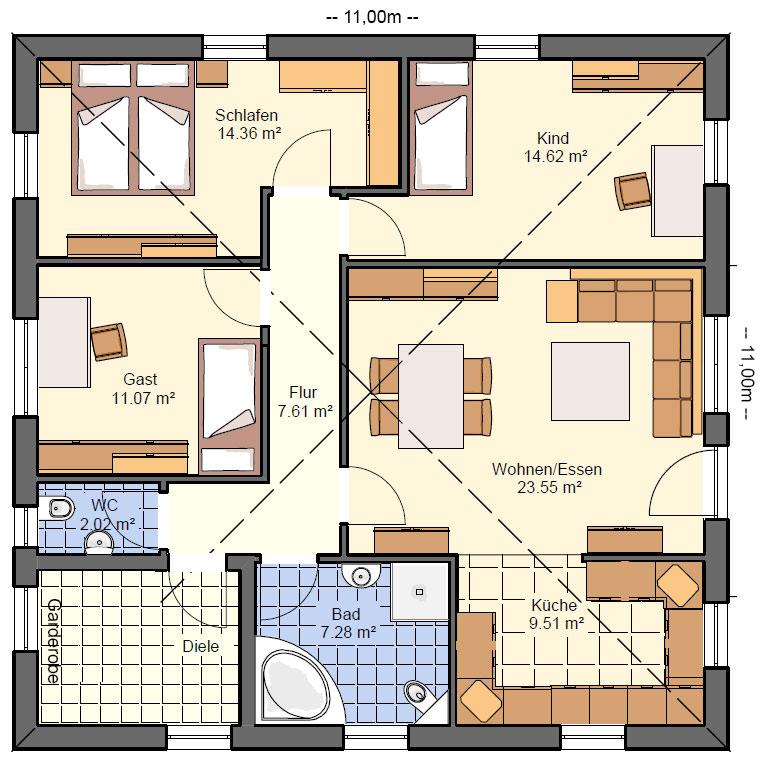 BG13 Bungalow Grundriss 100qm 4 Zimmer Grundriss