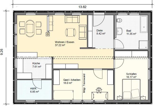Grundriss Bungalow 3 Zimmer