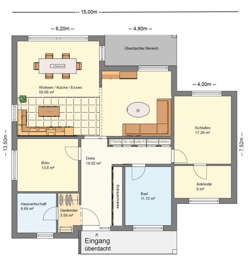 BGXXL1 Bungalow Grundriss 140qm 4 Zimmer BGXXL2 Bungalow Grundriss ...