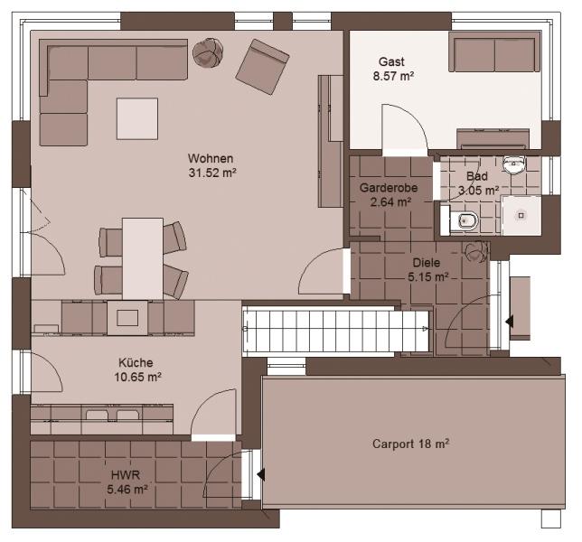 Stadtvilla grundriss 3d  Stadtvilla GENO LivingStar 19 - Haus Grundriss