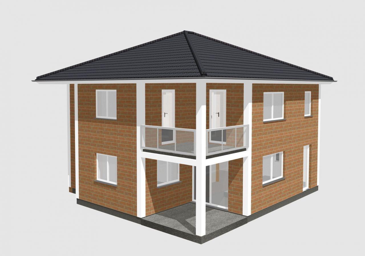 stadtvilla mit balkon und berdachter terrasse haus. Black Bedroom Furniture Sets. Home Design Ideas